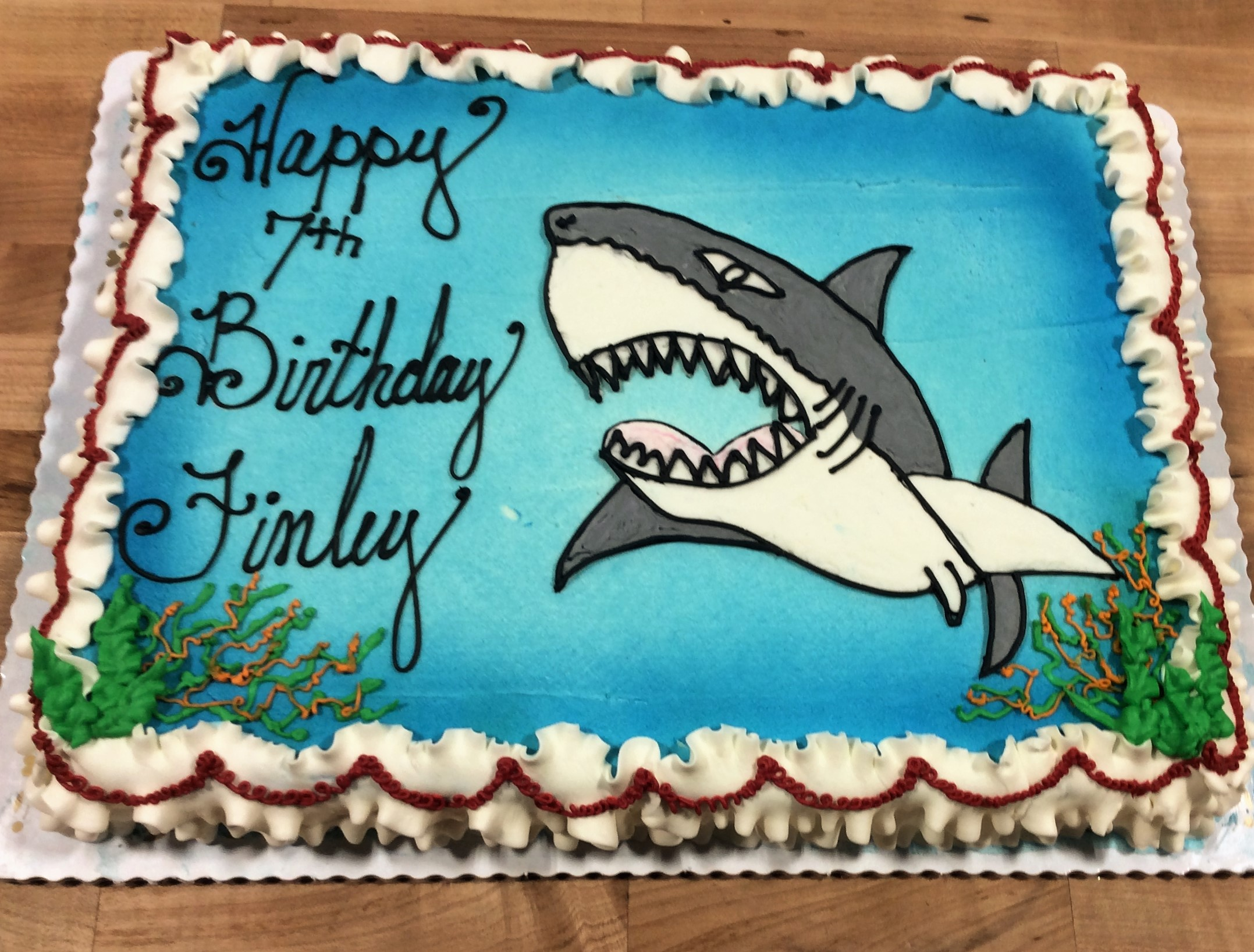 Sheet Cake with Piped Shark