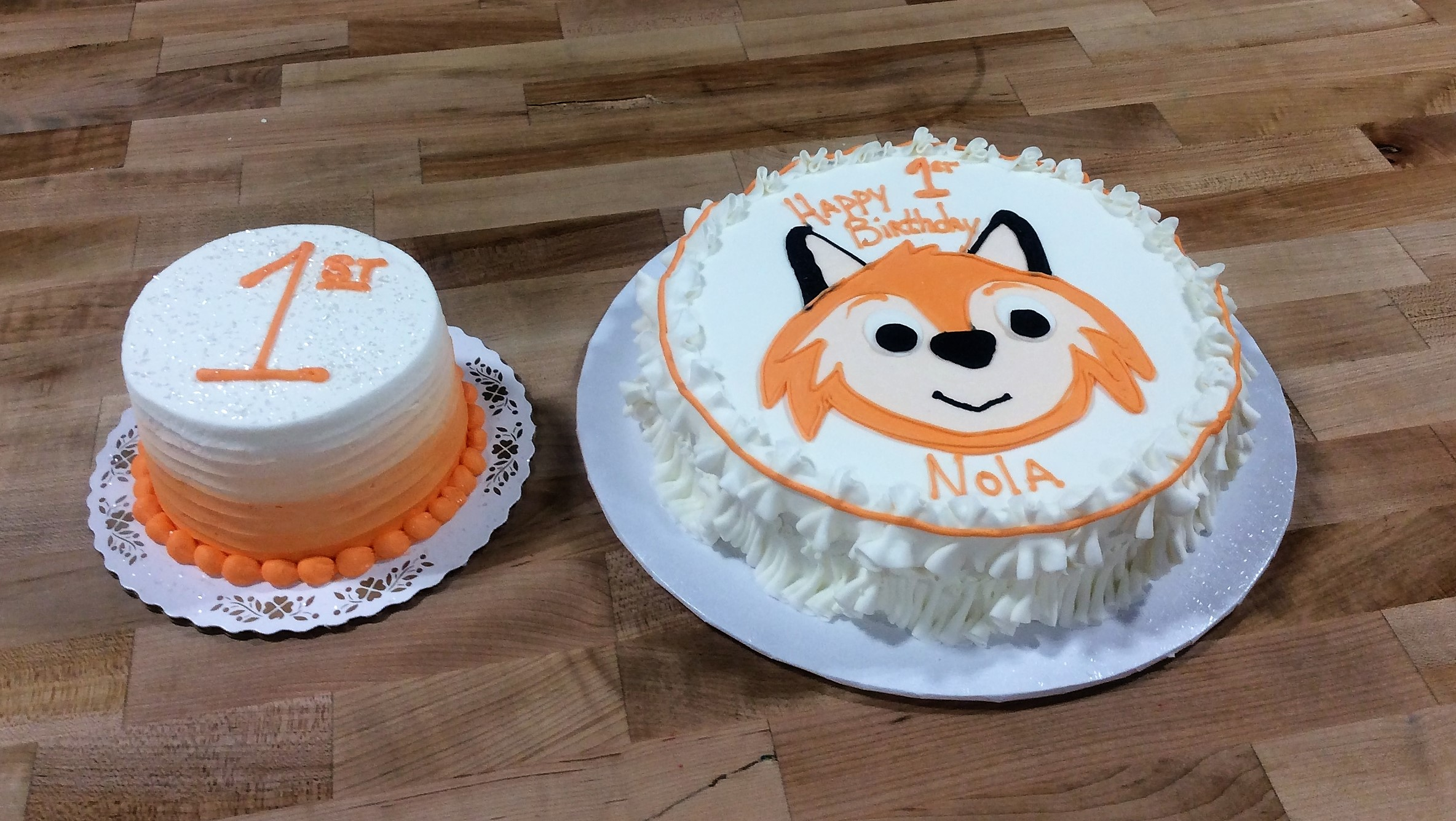 Fox Themed First Birthday Cakes