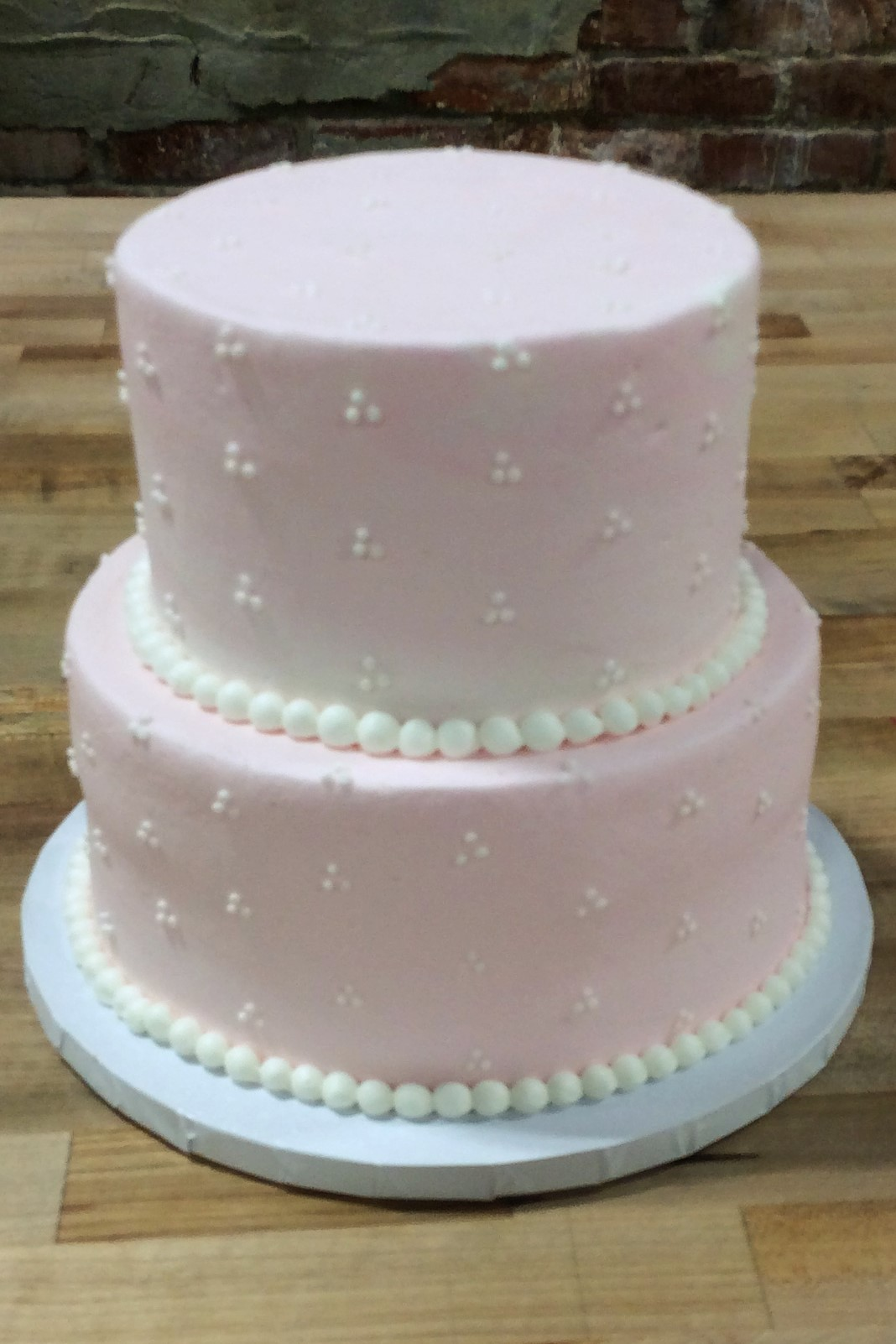 Pink Party Cake with Little White Dots