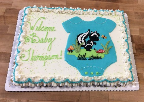 Baby Shower Sheet Cake with Piped Skunk and Onesie