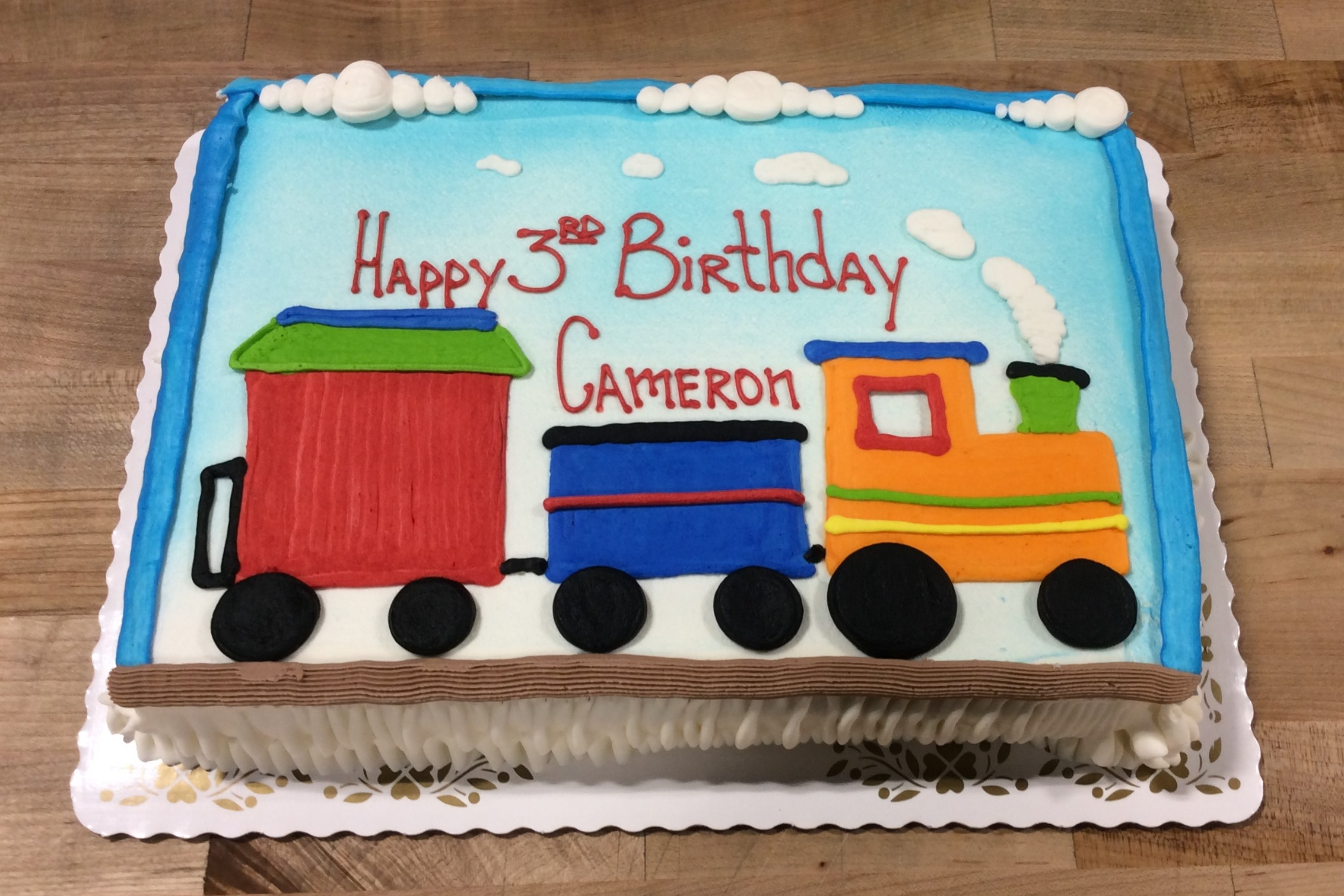 Sheet Cake with Piped Train Decoration