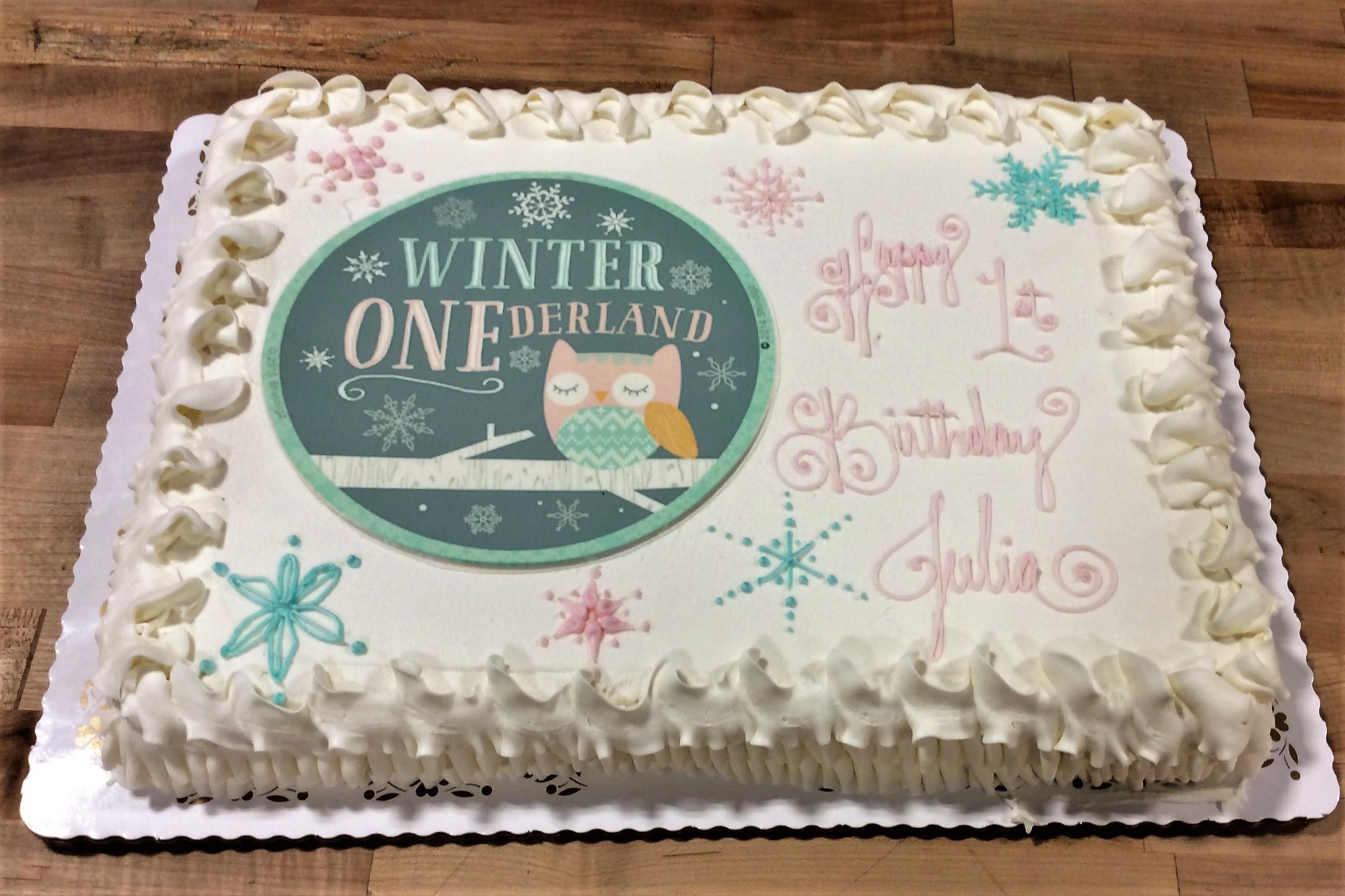 Winter ONEderland Sheet Cake