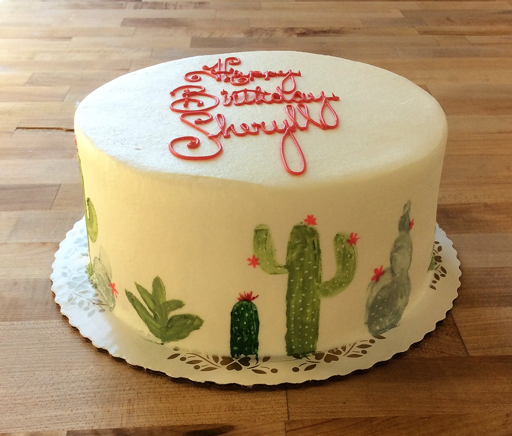 Round Cake with Painted Cactus Decoration