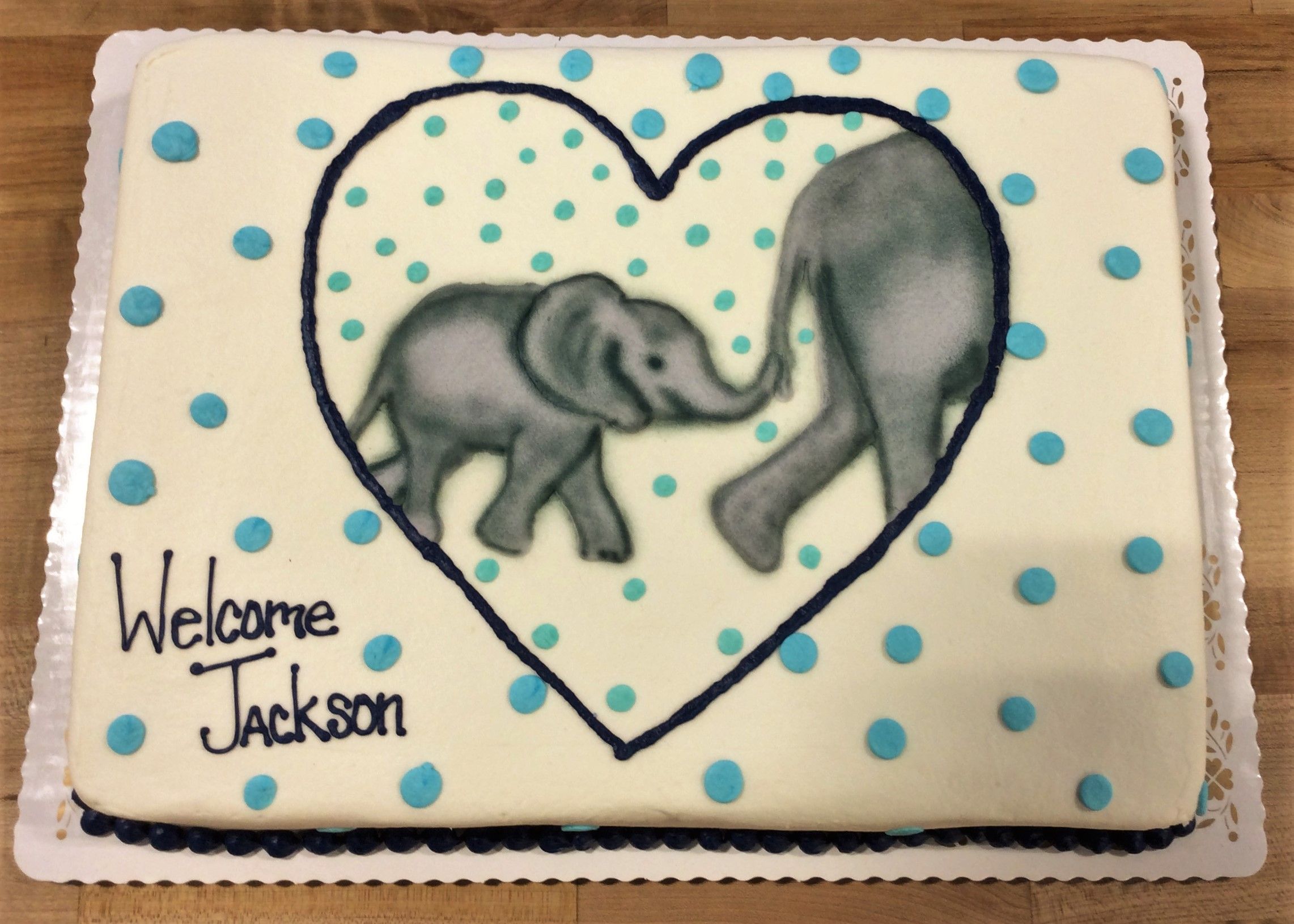 Sheet Cake with Airbrushed Elephants in Heart