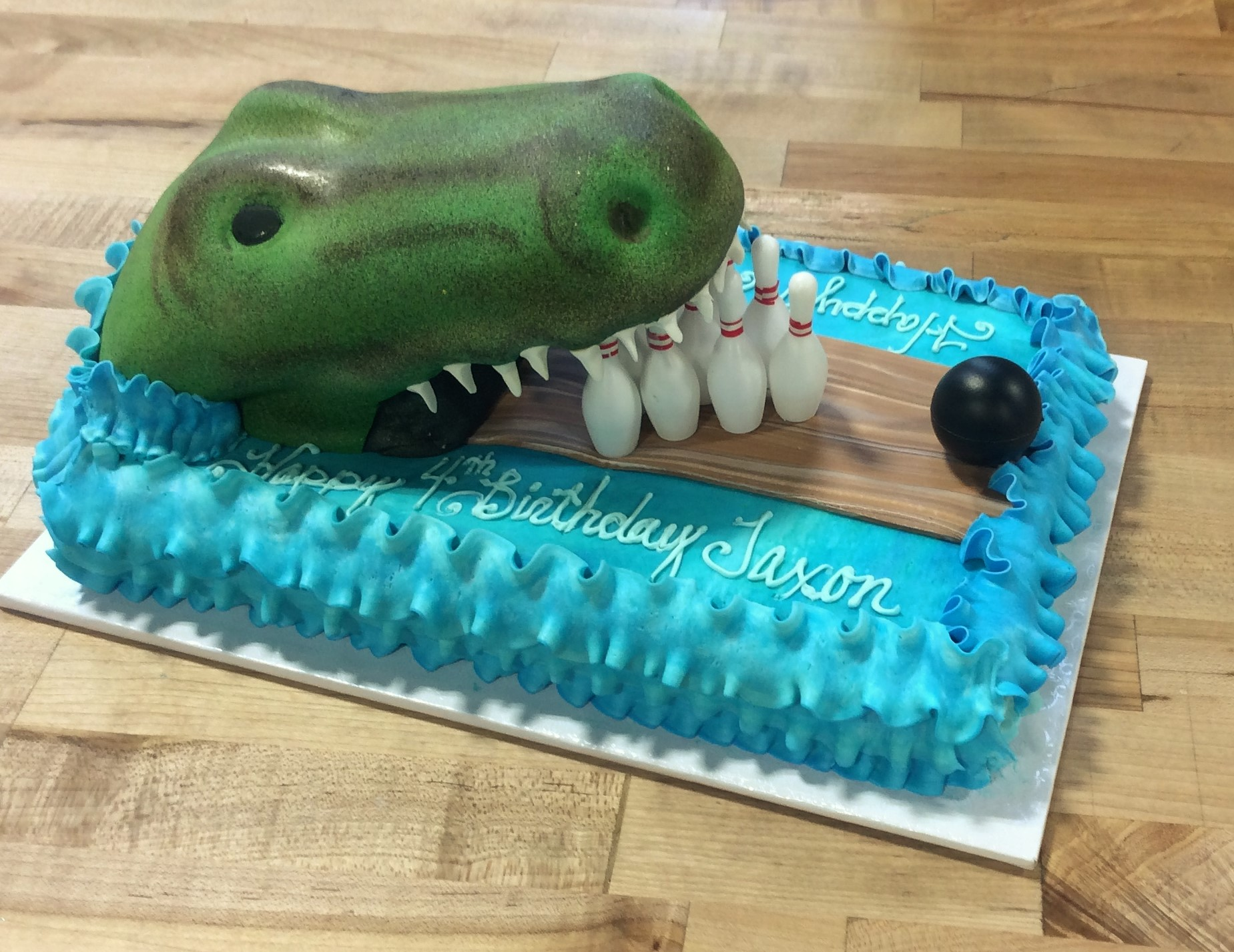 Sheet Cake with Sculpted Alligator and Bowling Scene
