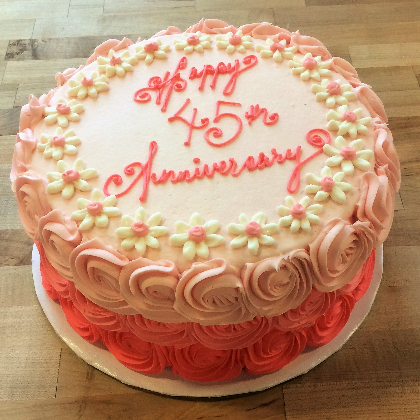 Round Cake with Ombre Rosettes