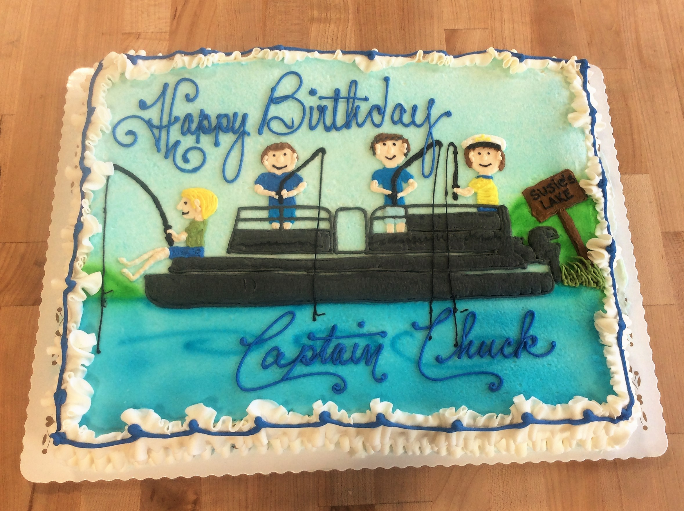 Sheet Cake with Piped Fishing Boat