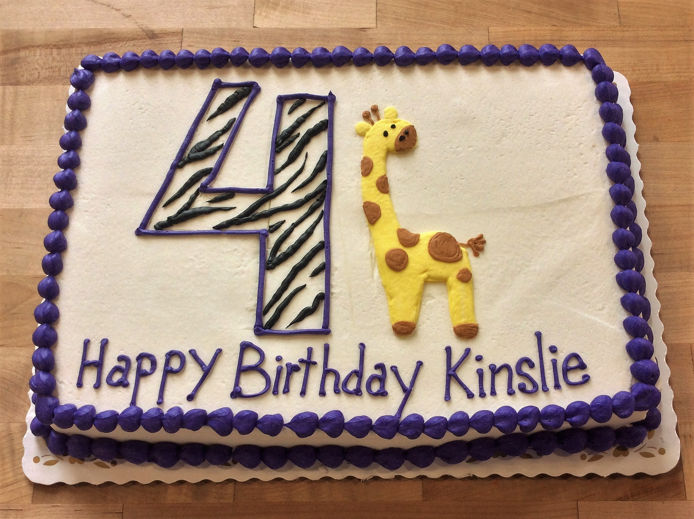 Sheet Cake with Piped Giraffe and Number