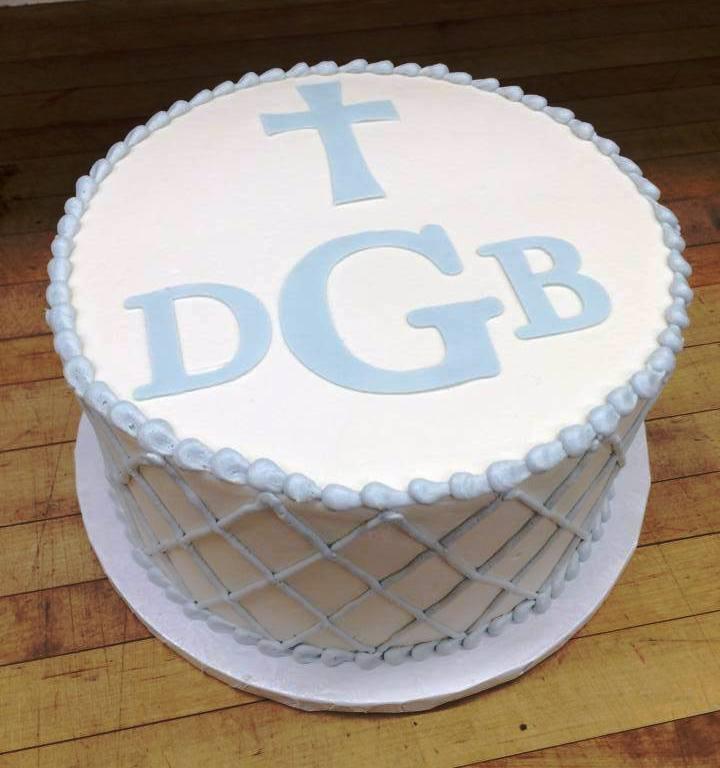 Round Cake with Lattice Work Sides & Fondant Monogram and Cross