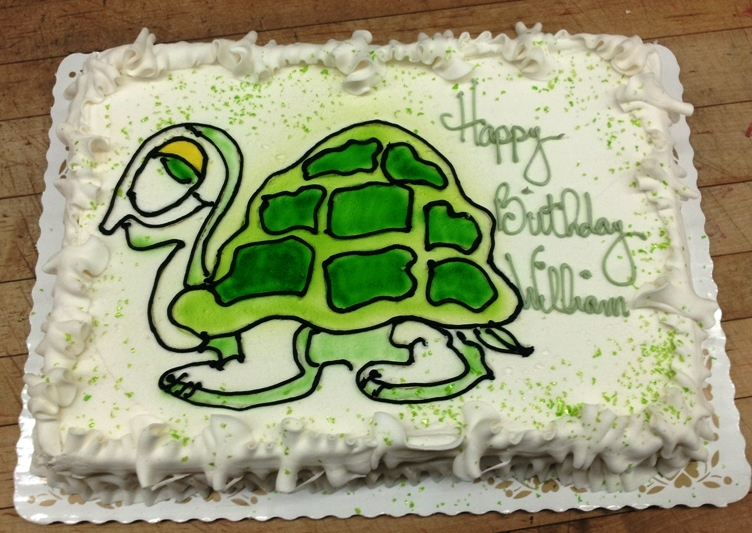 Airbrushed Turtle Sheet Cake
