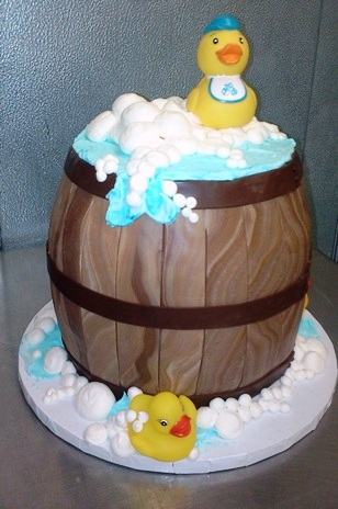 Barrel Shaped Cake with Rubber Ducks