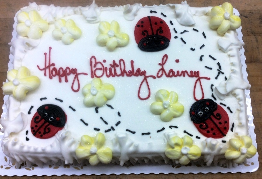 Piped Ladybugs and Daisies Sheet Cake