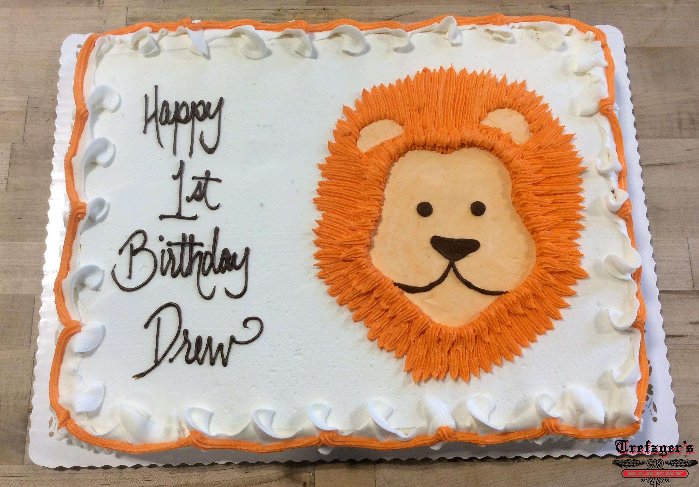 Piped Lion Sheet Cake