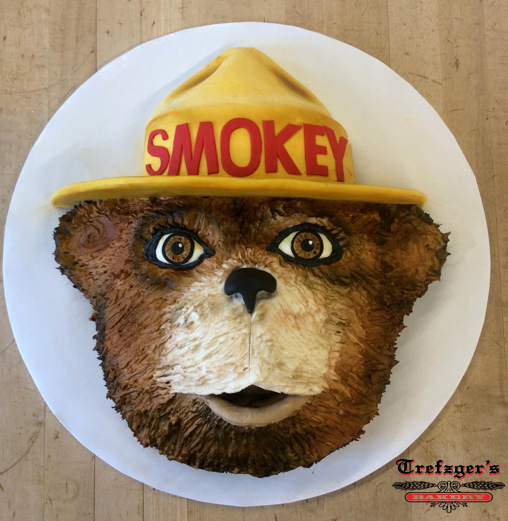 Smokey the Bear Shaped Cake