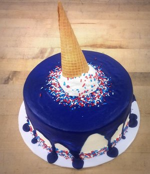Upside Down Ice Cream Cone Drip Cake