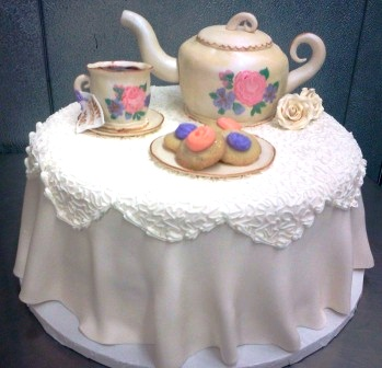 Teapot, Teacup, and Thumbprints Shaped Cake