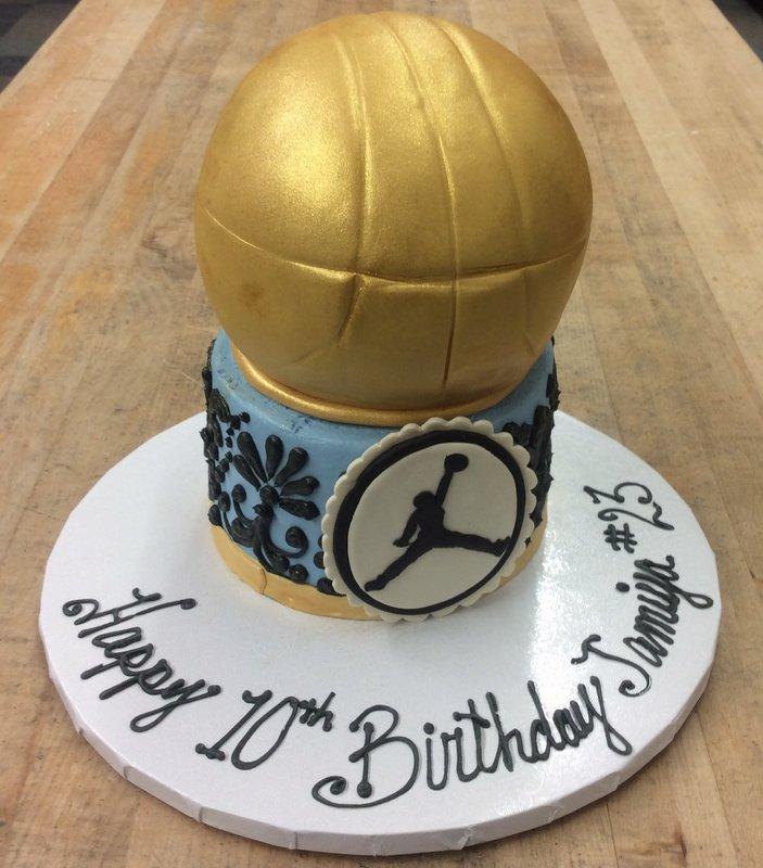 Golden Basketball Shaped Cake