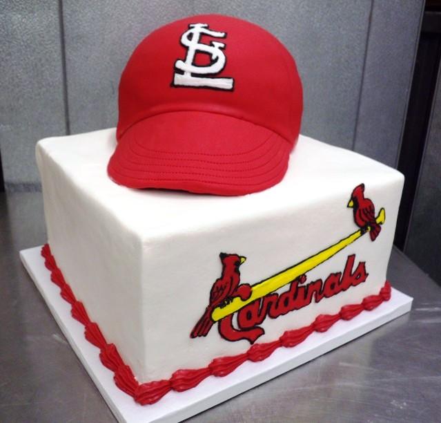 Cardinals Cap Shaped Cake on Square Cake