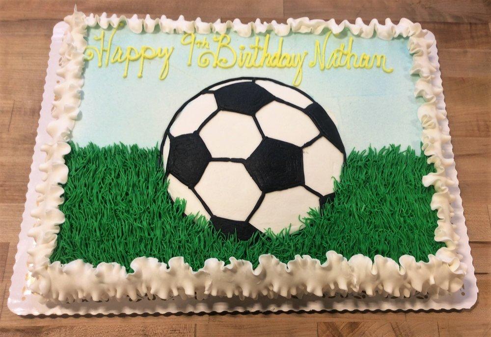 Piped Soccer Ball Sheet Cake