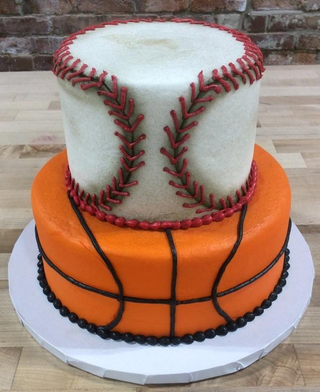 Baseball and Basketball Party Cake