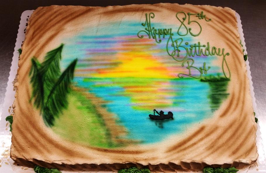 Airbrushed Sunset Sheet Cake