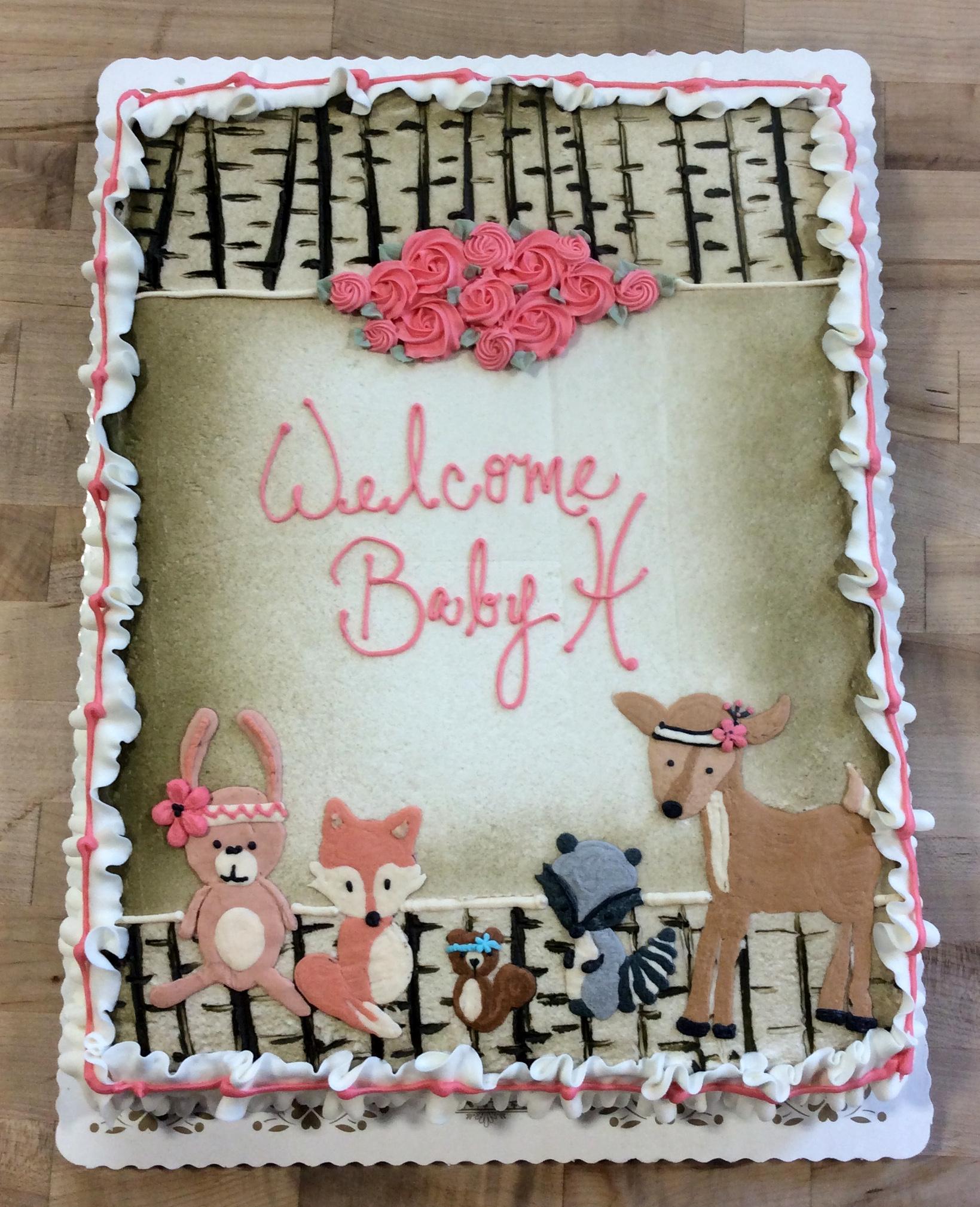 Woodland Animals Sheet Cake