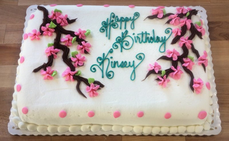 Piped Cherry Blossoms Sheet Cake