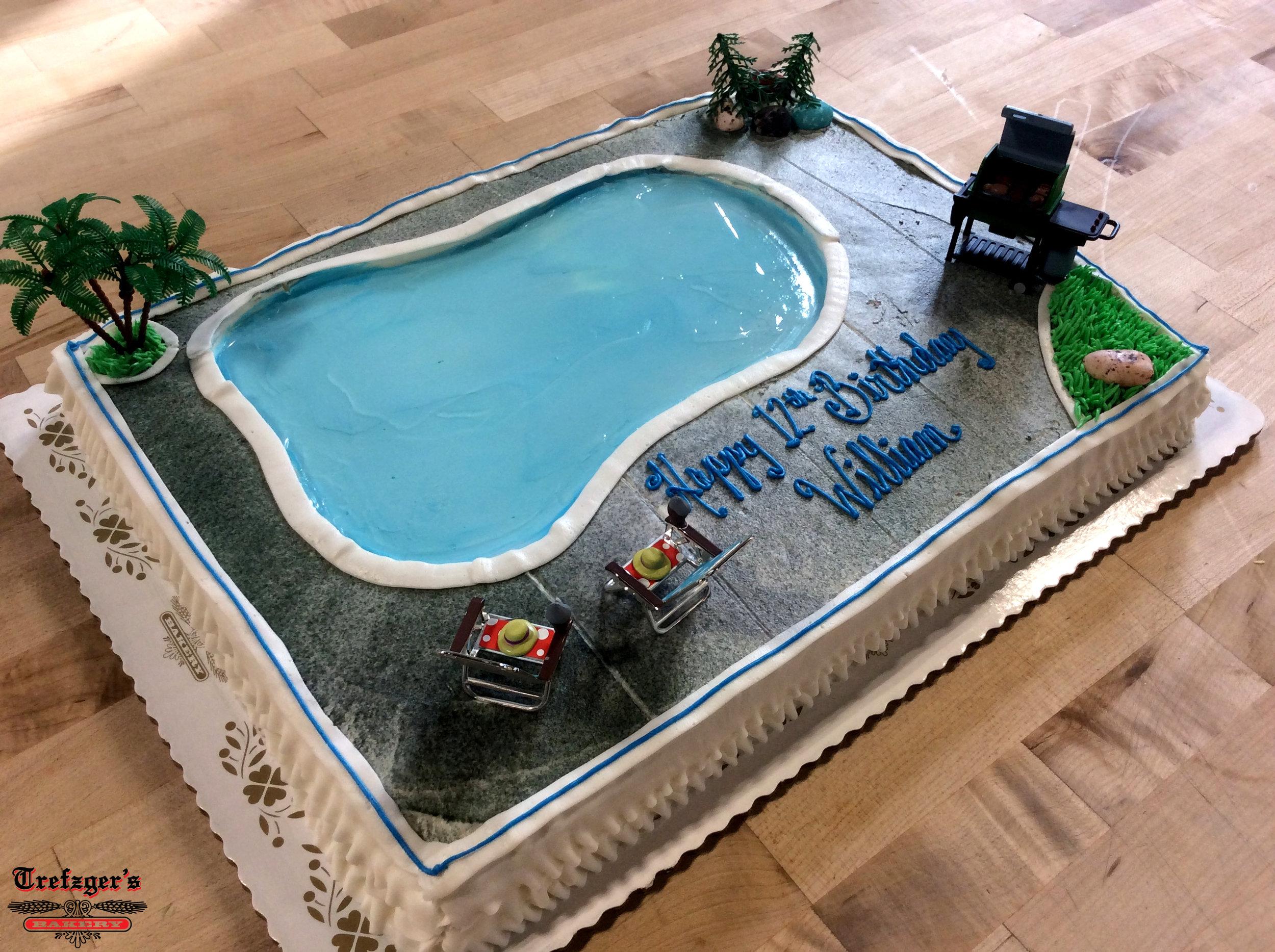 Backyard Swimming Pool Sheet Cake