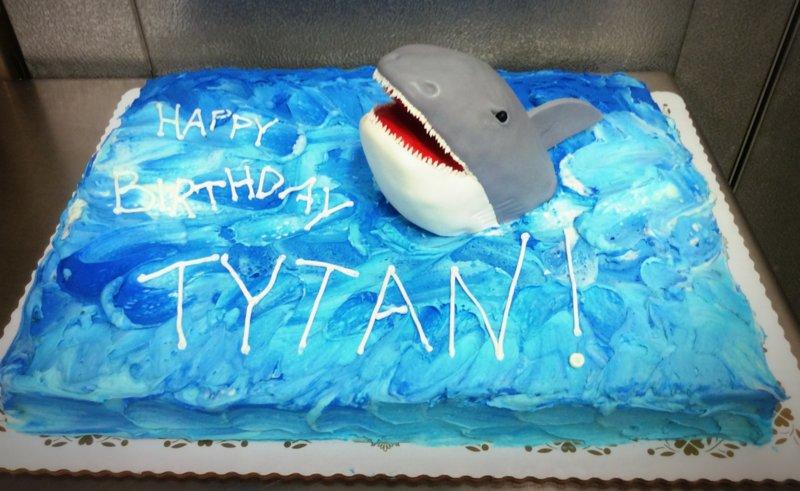 Shark Ocean Sheet Cake