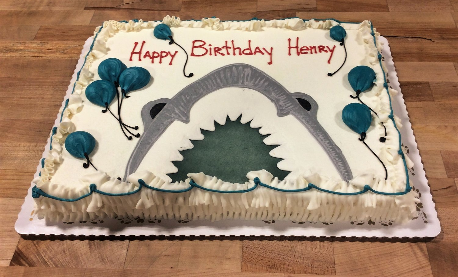 Piped Shark with Balloons Sheet Cake