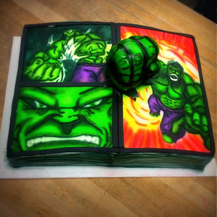 Fondant Hulk Hand Superhero Sheet Cake