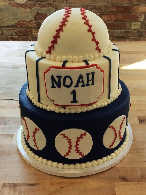 Baseball Party Cake with Half Ball Topper