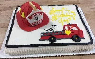 Fire Helmet and Firetruck Sheet Cake