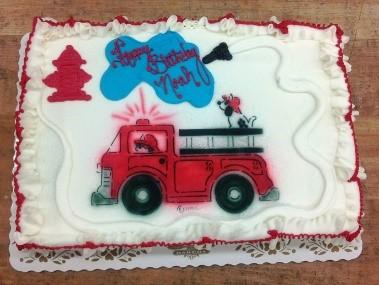 Airbrushed Firetruck Sheet Cake