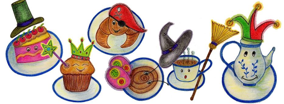 Els protagonistes d'aquest Carnestoltes. D'esquerre a dreta: Ric, Iris, Jan, Mar, Aina i Elsa. il·lustrats per Montserrat Guivernau.