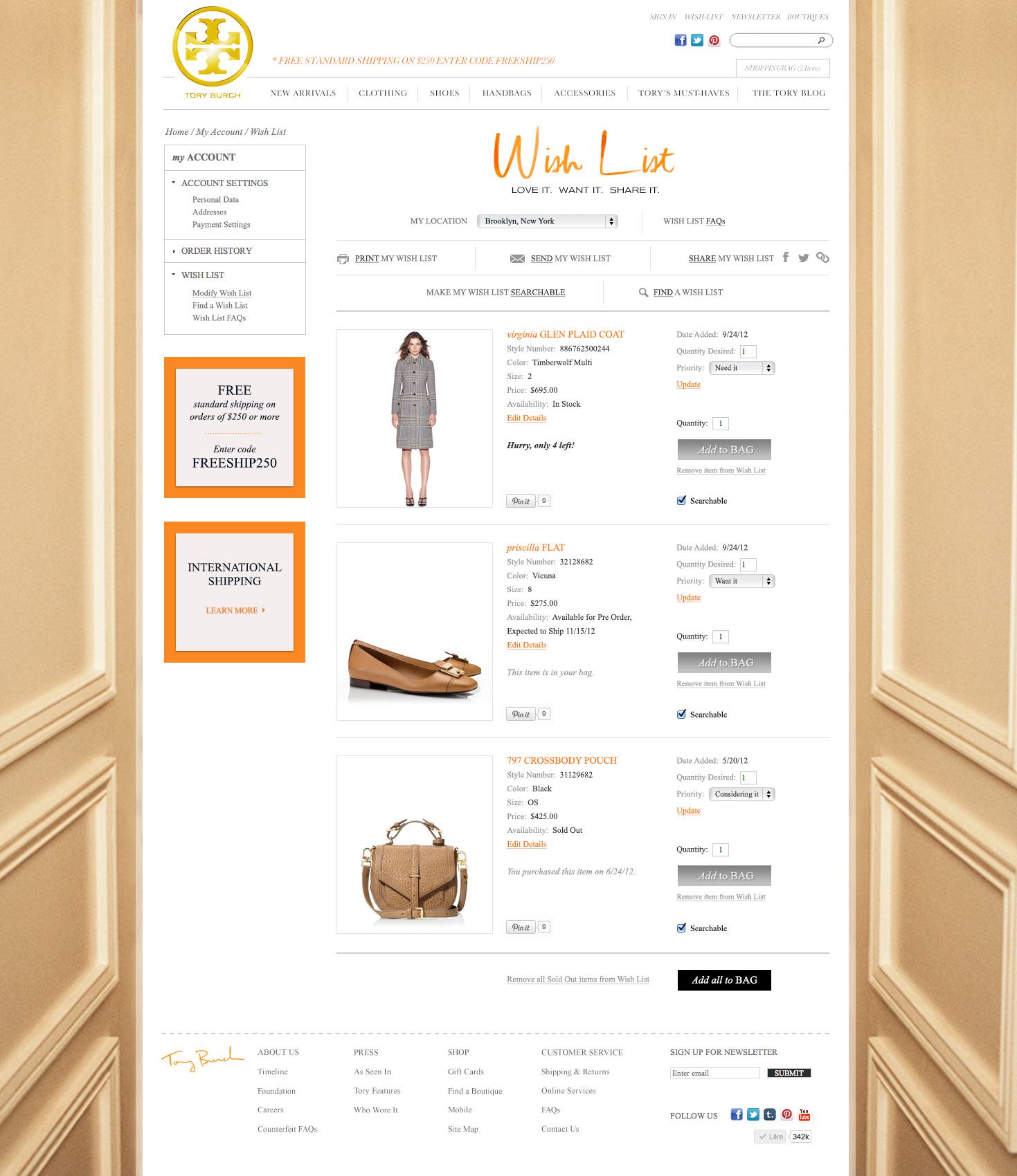 Wish List Redesign