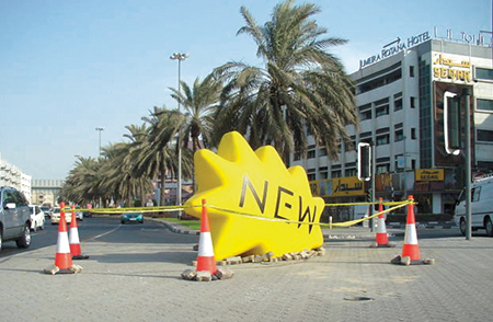 Giant Kenny's 'fell' from the sky into Dubai's highly trafficked areas.