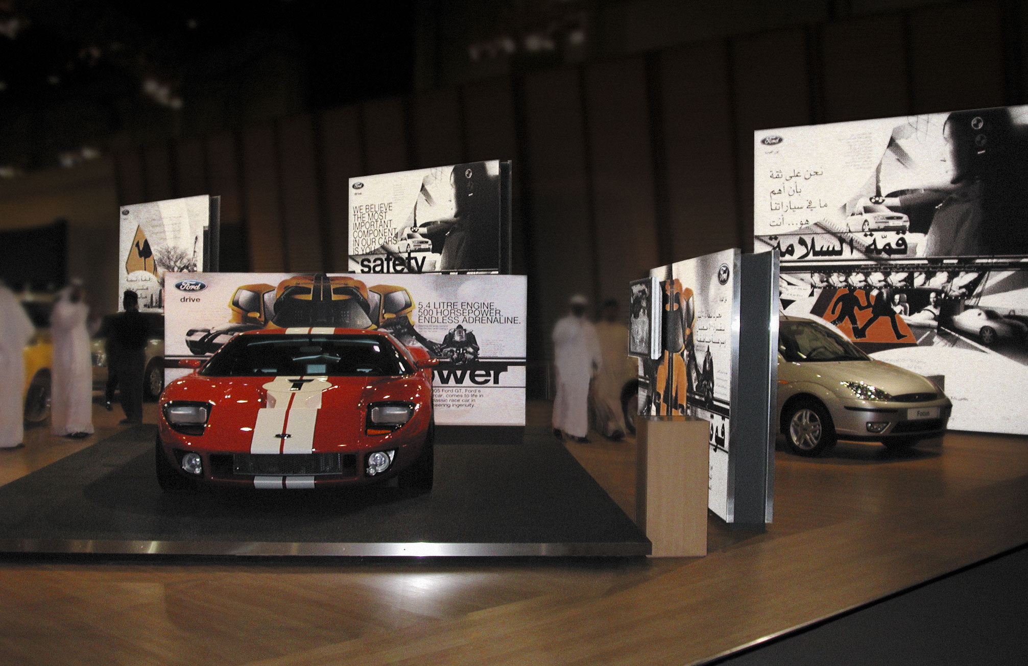 Designed like an open art gallery, various canvasses were laid across different car models. Each were strategically placed so the messages corresponds best to a particular car feature.
