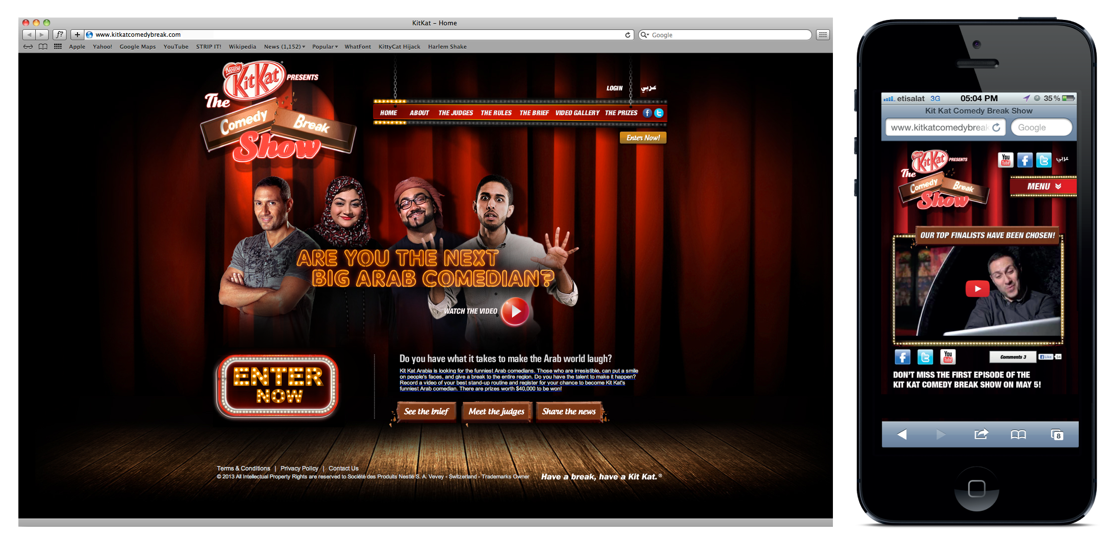 The KIT KAT Comedy Break Show website was designed to be responsive on multiple devices.