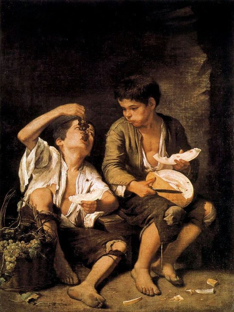 Niños comiendo uvas y melón. Óleo sobre lienzo. Murillo.Museo Neue Pinakothek (Munich).