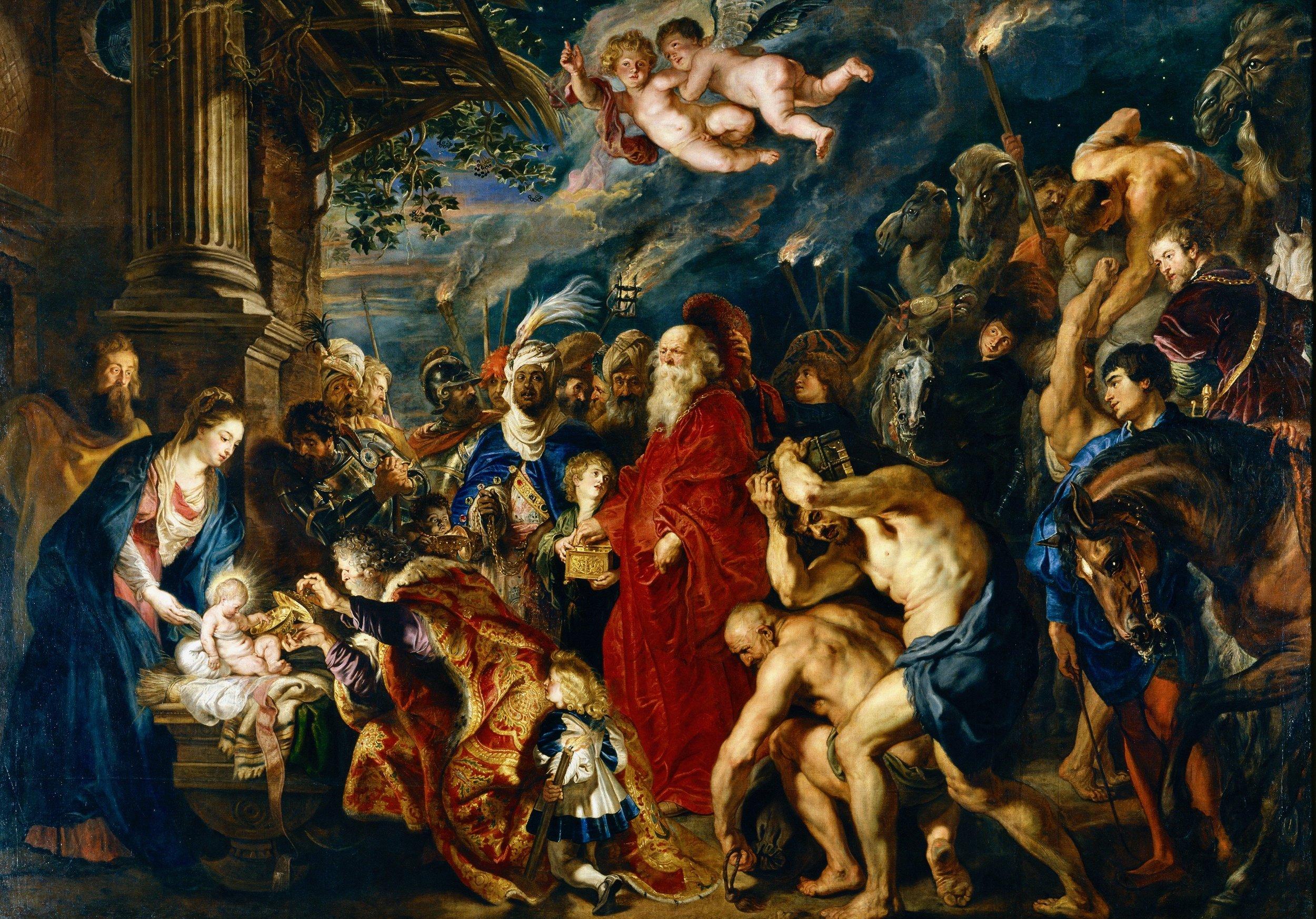 La adoración de los Reyes Magos. Rubens. Óleo sobre lienzo.Museo del Prado (Madrid). Año 1629.