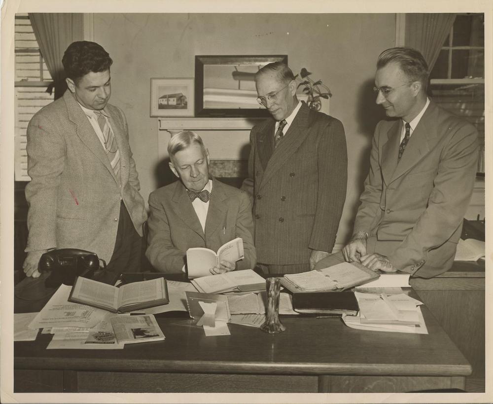 Dr.+Williams,+John+Fletcher,+two+men+in+office+c.+1950's.jpg