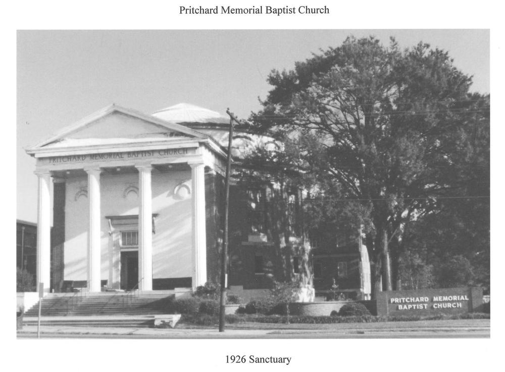 PMBC+1926+Auditorium+(Sanctuary),+B&W+with+sign,+taken+c.+late+1960's+maybe.jpg