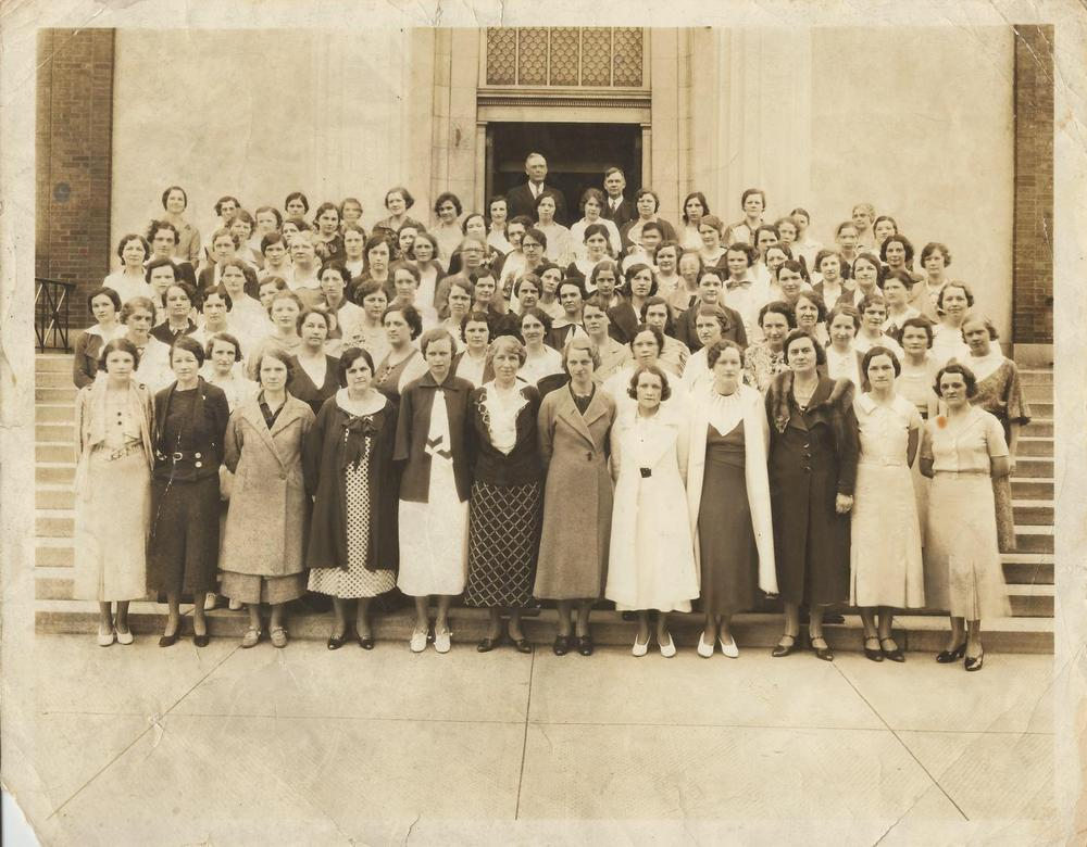 PMBC+Lydia+SS+class+1929,+soon+after+Dr.+Williams+came+front+steps+sanctuary.jpg