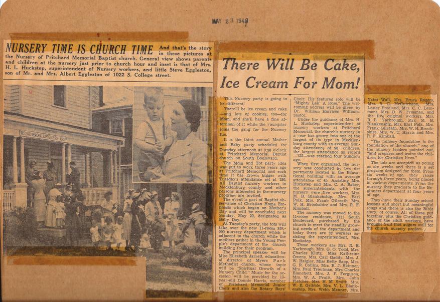 PMBC+nursery+article+5-23-1949,+Steve+Eggleston+child,+Mrs.+HL+Huckstep.jpg
