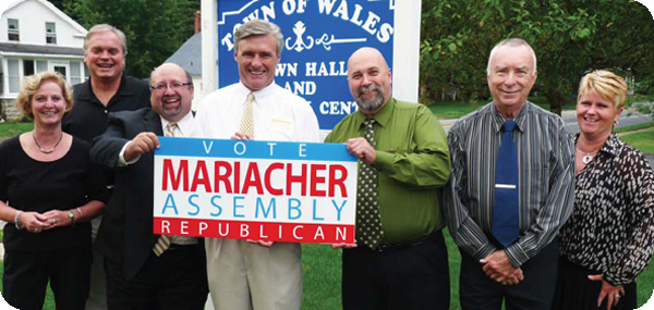 Wales Councilwoman Jude Hartrich, Supervisor Rickey Venditti, Councilmen Mike Simon, Don Butcher &  Jerry Klinck , and Town Clerk Mindy Eaton officially endorse Mariacher for Assembly.