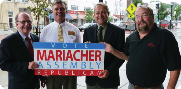 Aurora Councilmen James Collins,  James Bach  and Jeff Harris officially endorse Mariacher for New York State Assembly.