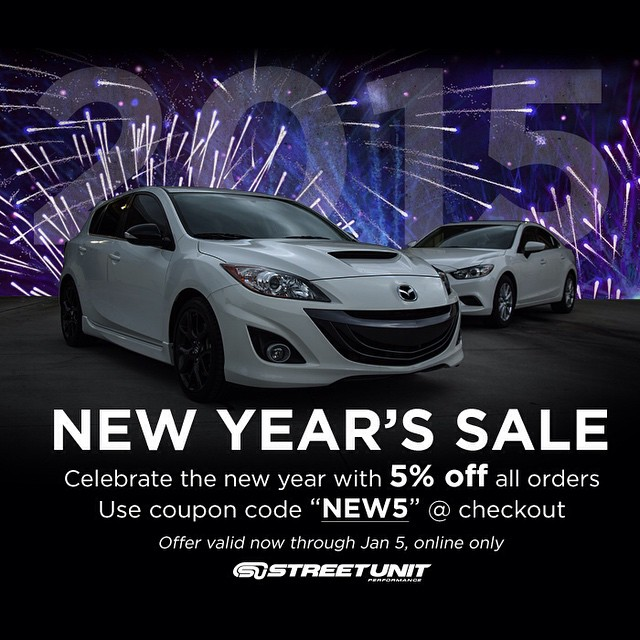 "Happy New Year's from Street Unit!  Now through Jan 5th, take 5% off all orders placed online.  Use coupon code ""NEW5"" at checkout! #Streetunit #mazda2015 #mazda #mazdaspeed #freshmazdameet #mazdanation #zoomzoom #livemm #cultureM #mazdausa #mazdamovement #mazda3only #performance #mazdaflow #mazdaspeed3 #mazdaspeed6 #mazdalove #mazda3 #mazdafitment #mazda6"