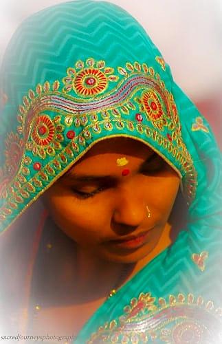 A meditative moment in          Varanasi