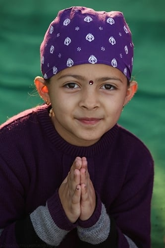 Young devotee at The Golden Temple in Amritsar